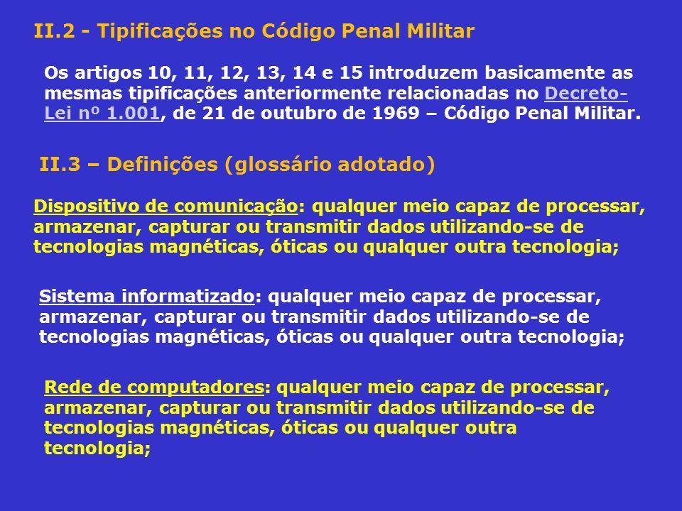 II.2 - Tipificações no Código Penal Militar Os artigos 10, 11, 12, 13, 14 e 15 introduzem basicamente as mesmas tipificações anteriormente relacionada