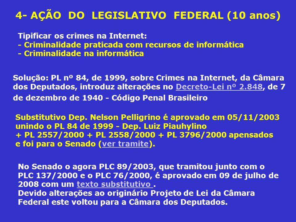 4- AÇÃO DO LEGISLATIVO FEDERAL (10 anos) No Senado o agora PLC 89/2003, que tramitou junto com o PLC 137/2000 e o PLC 76/2000, é aprovado em 09 de jul