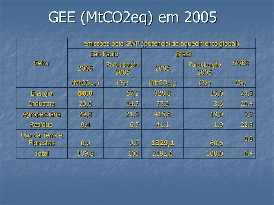 GEE (MtCO2eq) em 2005 Setor emissões pelo GWP (potencial de aquecimento global) São Paulo Brasil SP/BR 2005 Participação 2005 2005 (MtCO 2eq ) (%) (%)(%) Energia80,057,2328,815,0 24,3 Indústria20,614,777,93,6 26,4 Agropecuária29,821,3415,819,0 7,2 Resíduo9,46,741,11,9 22,8 Uso da Terra e Florestas 0,00,01329,160,6 0,0 Total139,81002192,6100,0 6,4