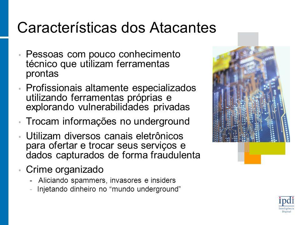 Características dos Atacantes Pessoas com pouco conhecimento técnico que utilizam ferramentas prontas Profissionais altamente especializados utilizand