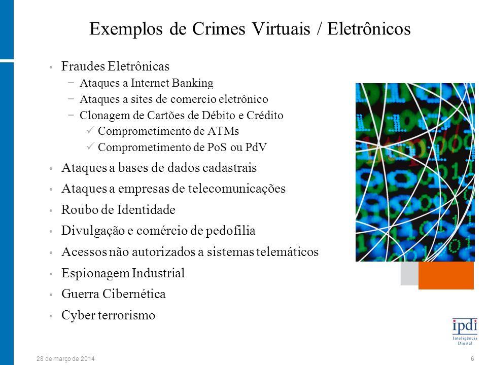 28 de março de 20146 Exemplos de Crimes Virtuais / Eletrônicos Fraudes Eletrônicas Ataques a Internet Banking Ataques a sites de comercio eletrônico C