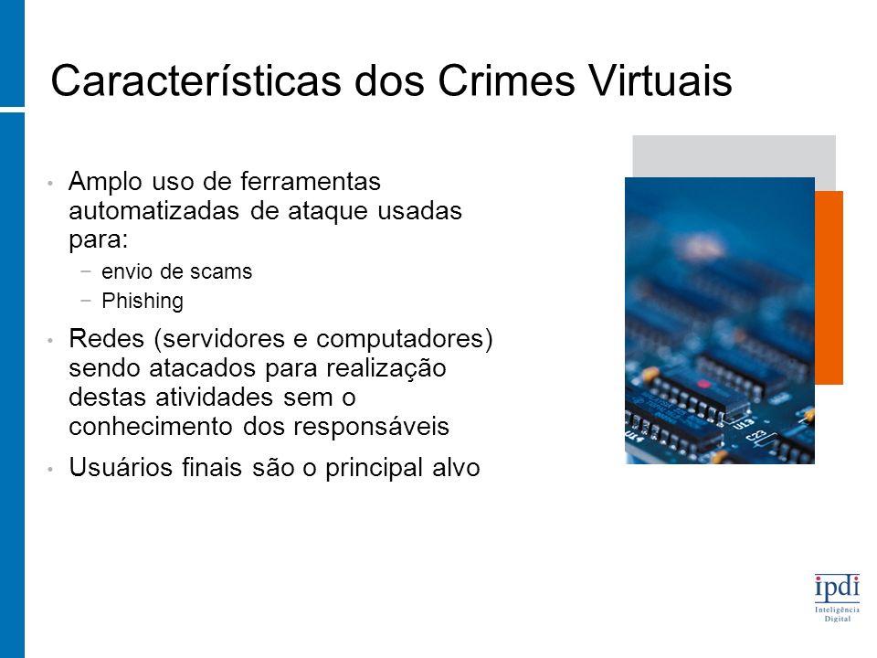 Características dos Crimes Virtuais Amplo uso de ferramentas automatizadas de ataque usadas para: envio de scams Phishing Redes (servidores e computadores) sendo atacados para realização destas atividades sem o conhecimento dos responsáveis Usuários finais são o principal alvo