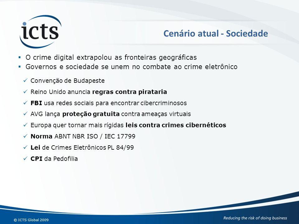 © ICTS Global 2009 O crime digital extrapolou as fronteiras geográficas Governos e sociedade se unem no combate ao crime eletrônico Cenário atual - So
