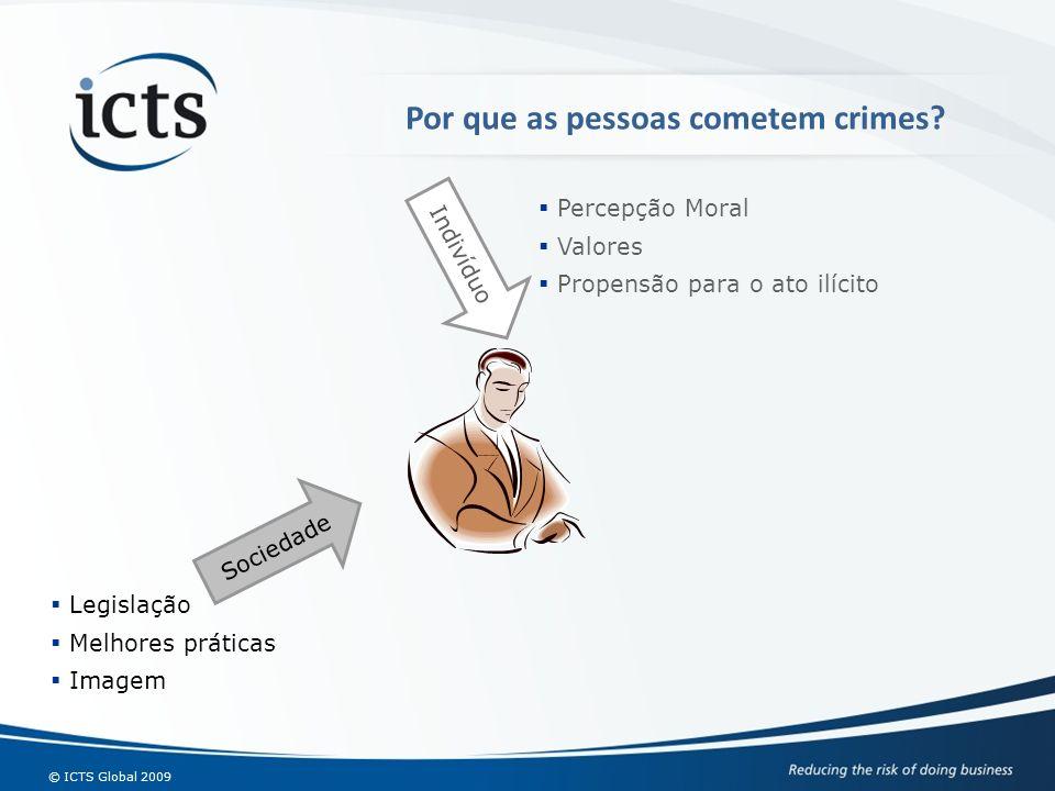 © ICTS Global 2009 Indivíduo Percepção Moral Valores Propensão para o ato ilícito Legislação Melhores práticas Imagem Sociedade Por que as pessoas com