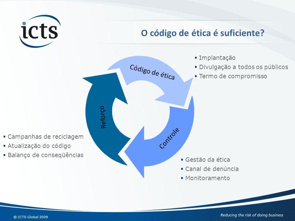 © ICTS Global 2009 O código de ética é suficiente? Código de ética Controle Reforço Implantação Divulgação a todos os públicos Termo de compromisso Ge