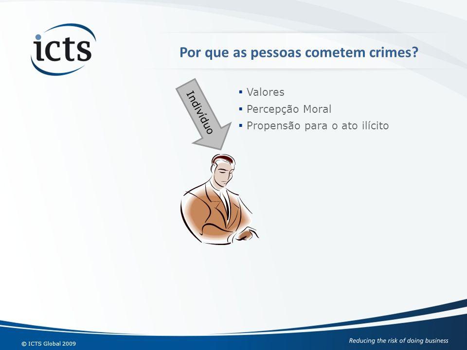 © ICTS Global 2009 Indivíduo Valores Percepção Moral Propensão para o ato ilícito Por que as pessoas cometem crimes?