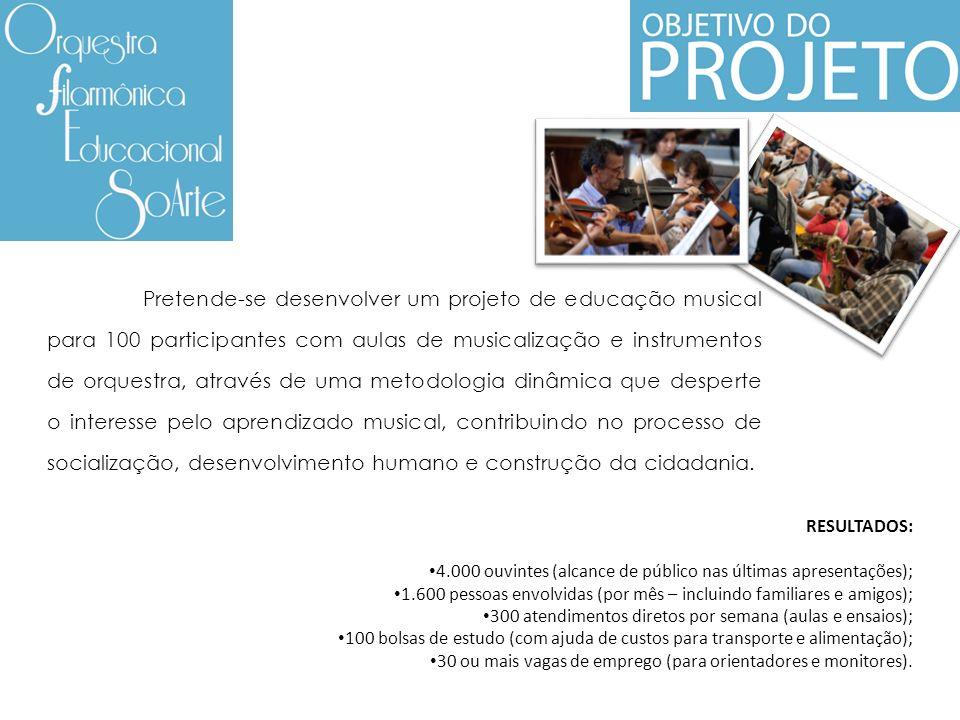 Pretende-se desenvolver um projeto de educação musical para 100 participantes com aulas de musicalização e instrumentos de orquestra, através de uma m