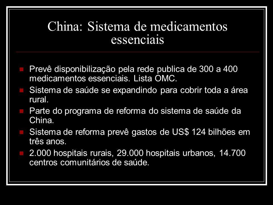 China: Sistema de medicamentos essenciais Prevê disponibilização pela rede publica de 300 a 400 medicamentos essenciais. Lista OMC. Sistema de saúde s