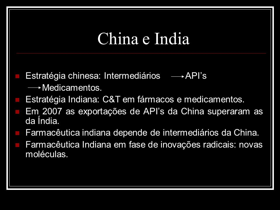 China e India Estratégia chinesa: Intermediários APIs Medicamentos.