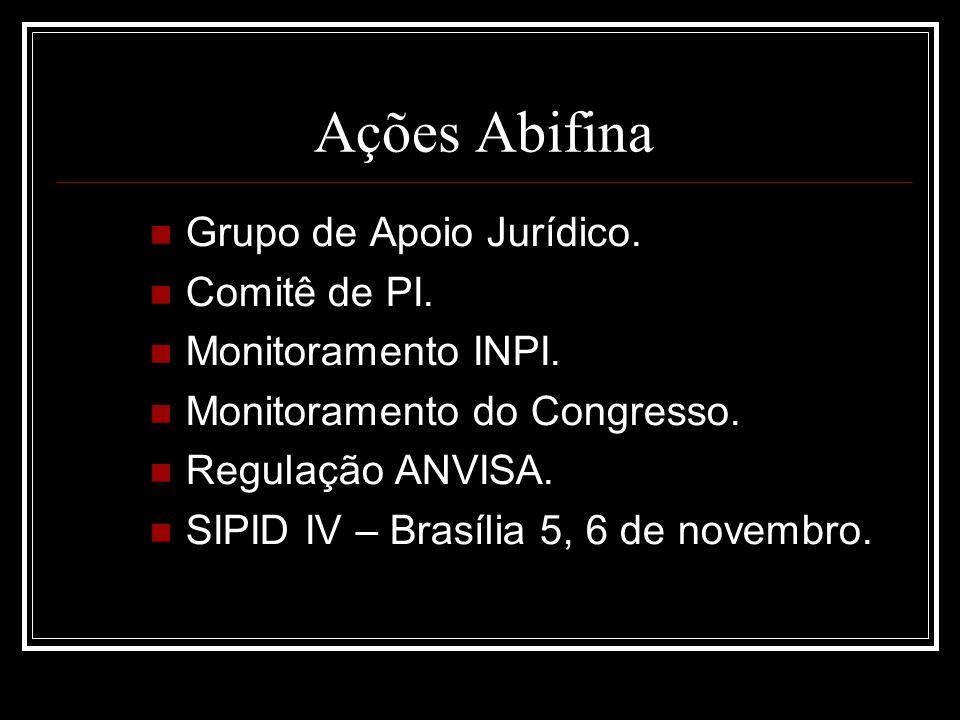 Ações Abifina Grupo de Apoio Jurídico. Comitê de PI. Monitoramento INPI. Monitoramento do Congresso. Regulação ANVISA. SIPID IV – Brasília 5, 6 de nov