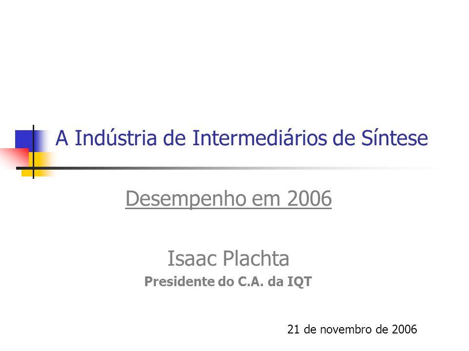 A Indústria de Intermediários de Síntese Desempenho em 2006 Isaac Plachta Presidente do C.A. da IQT 21 de novembro de 2006