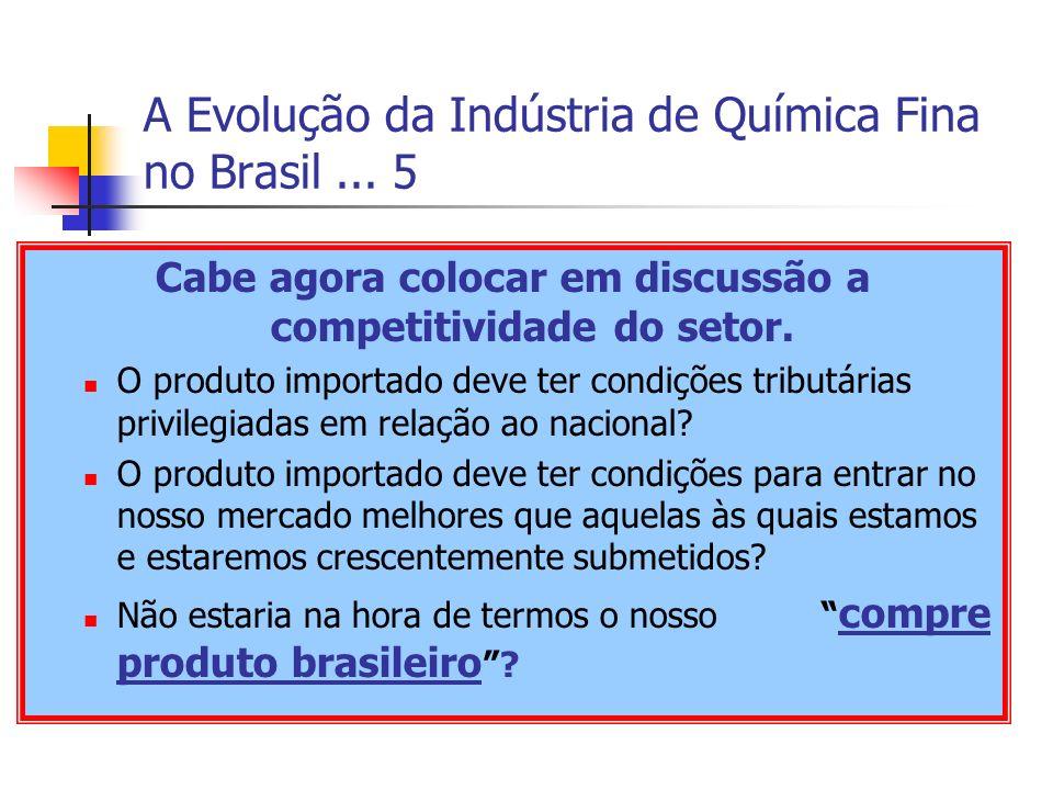 A Evolução da Indústria de Química Fina no Brasil... 5 Cabe agora colocar em discussão a competitividade do setor. O produto importado deve ter condiç