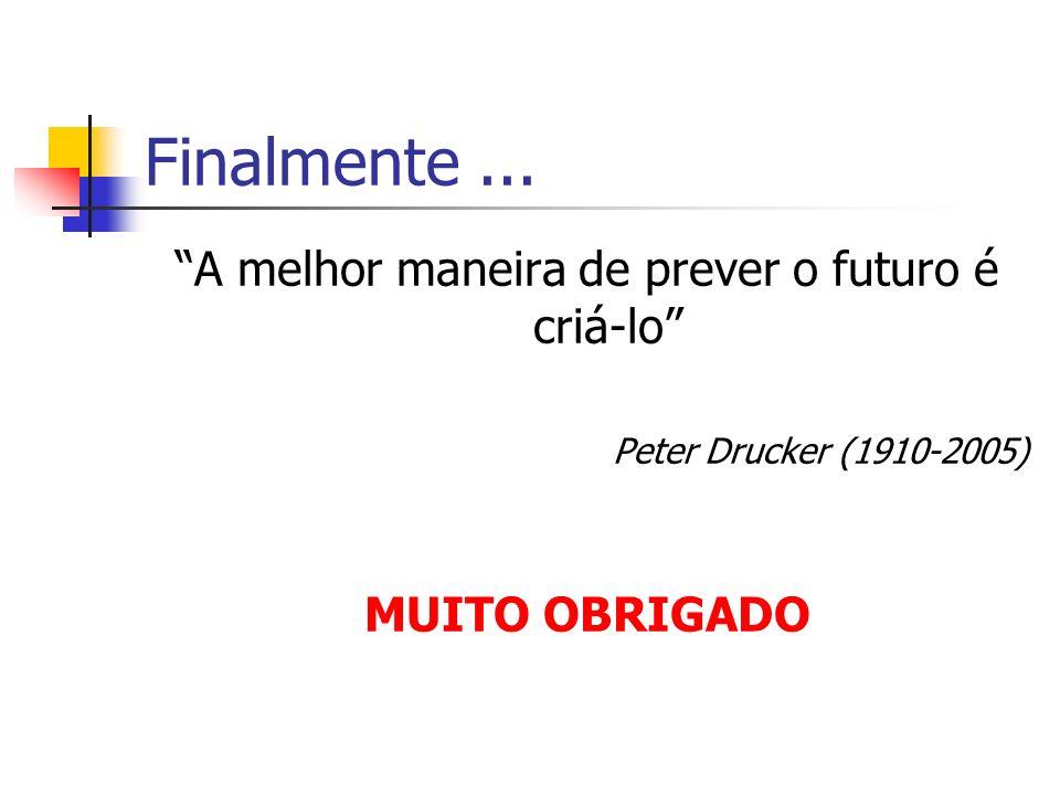 Finalmente... A melhor maneira de prever o futuro é criá-lo Peter Drucker (1910-2005) MUITO OBRIGADO