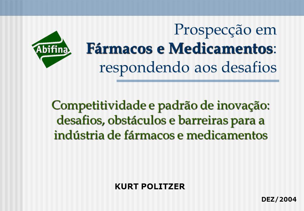 Fármacos e Medicamentos Prospecção em Fármacos e Medicamentos : respondendo aos desafios Competitividade e padrão de inovação: desafios, obstáculos e barreiras para a indústria de fármacos e medicamentos KURT POLITZER DEZ/2004