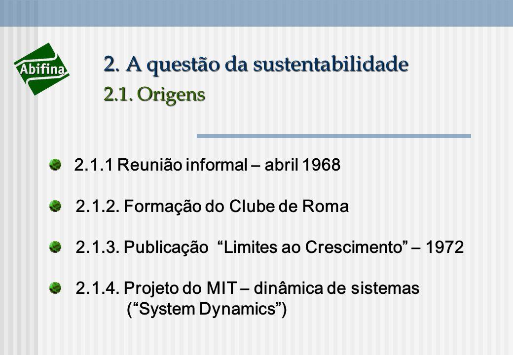 2. A questão da sustentabilidade 2.1. Origens 2.1.1 Reunião informal – abril 1968 2.1.2. Formação do Clube de Roma 2.1.3. Publicação Limites ao Cresci