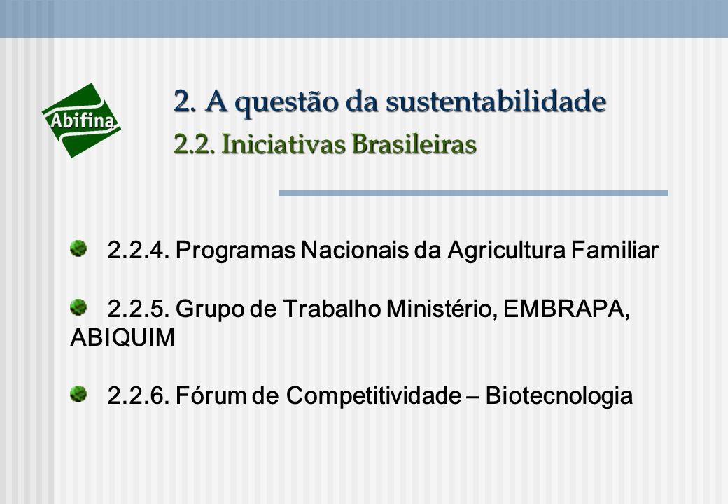 2. A questão da sustentabilidade 2.2. Iniciativas Brasileiras 2.2.4. Programas Nacionais da Agricultura Familiar 2.2.5. Grupo de Trabalho Ministério,