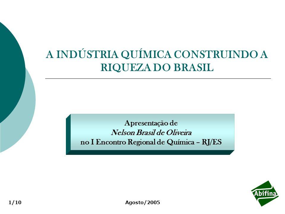 A INDÚSTRIA QUÍMICA CONSTRUINDO A RIQUEZA DO BRASIL Apresentação de Nelson Brasil de Oliveira no I Encontro Regional de Química – RJ/ES Agosto/20051/10