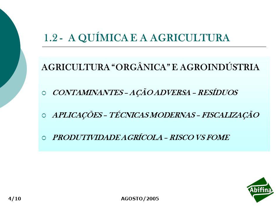 AGOSTO/20054/10 1.2 - A QUÍMICA E A AGRICULTURA AGRICULTURA ORGÂNICA E AGROINDÚSTRIA CONTAMINANTES – AÇÃO ADVERSA – RESÍDUOS APLICAÇÕES – TÉCNICAS MOD