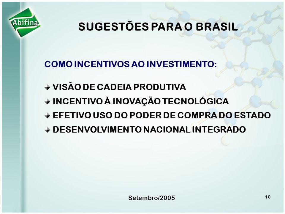 Setembro/2005 10 SUGESTÕES PARA O BRASIL COMO INCENTIVOS AO INVESTIMENTO: VISÃO DE CADEIA PRODUTIVA INCENTIVO À INOVAÇÃO TECNOLÓGICA EFETIVO USO DO PO