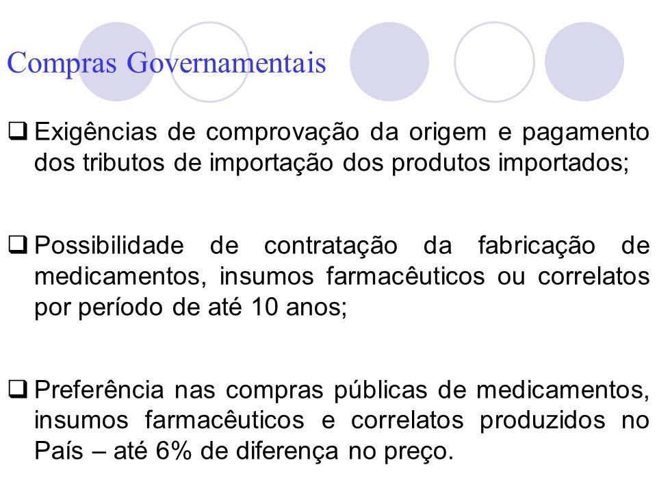 Exigências de comprovação da origem e pagamento dos tributos de importação dos produtos importados; Possibilidade de contratação da fabricação de medi