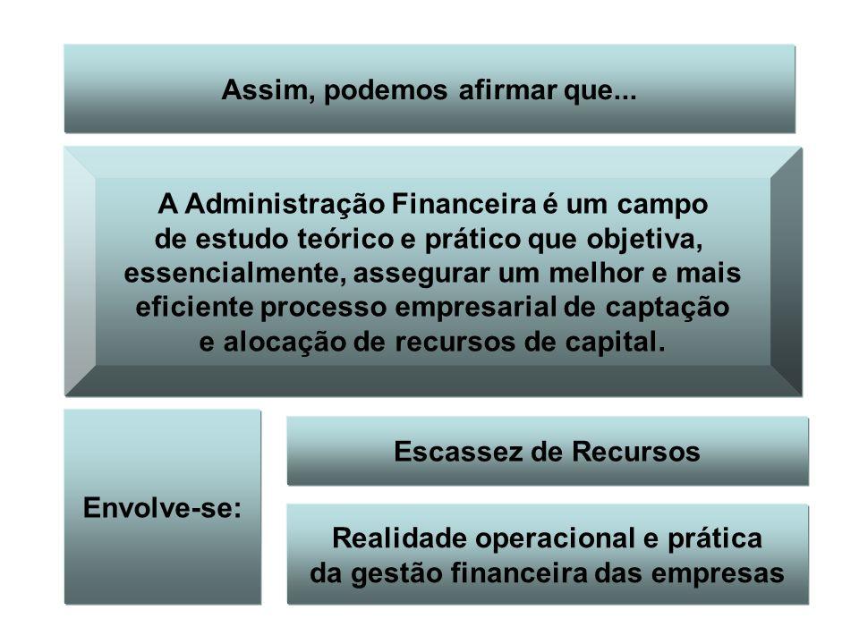Assim, podemos afirmar que... A Administração Financeira é um campo de estudo teórico e prático que objetiva, essencialmente, assegurar um melhor e ma