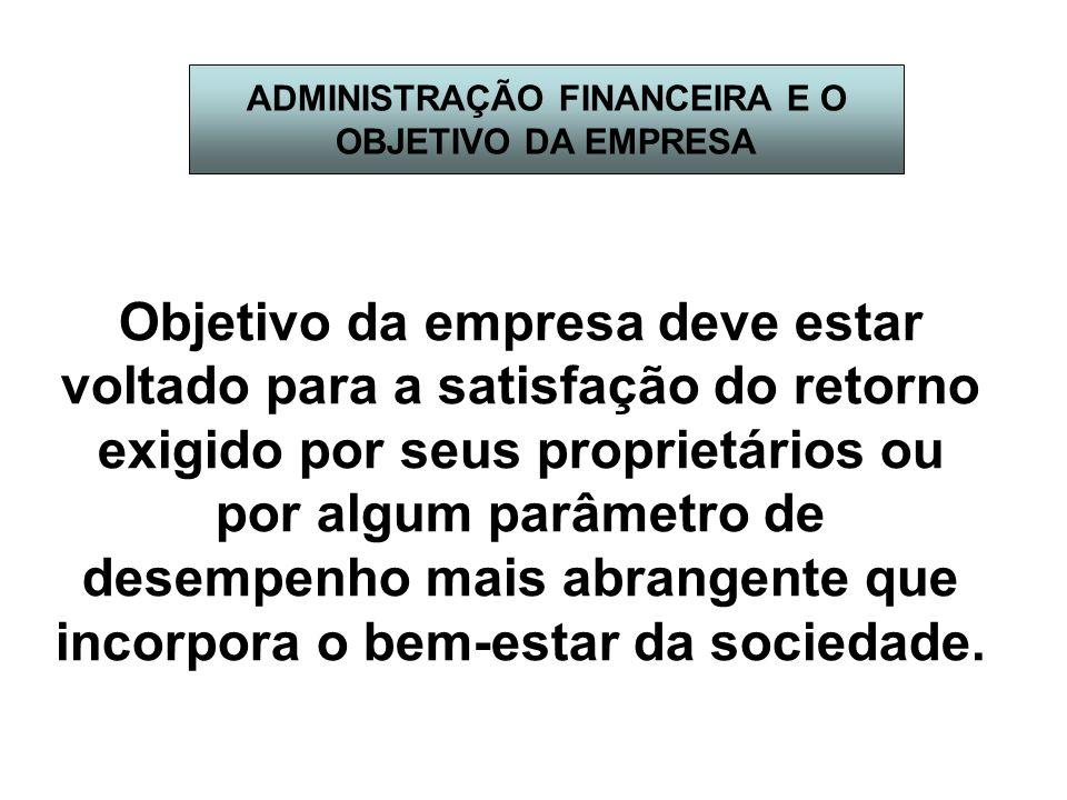 ADMINISTRAÇÃO FINANCEIRA E O OBJETIVO DA EMPRESA Objetivo da empresa deve estar voltado para a satisfação do retorno exigido por seus proprietários ou