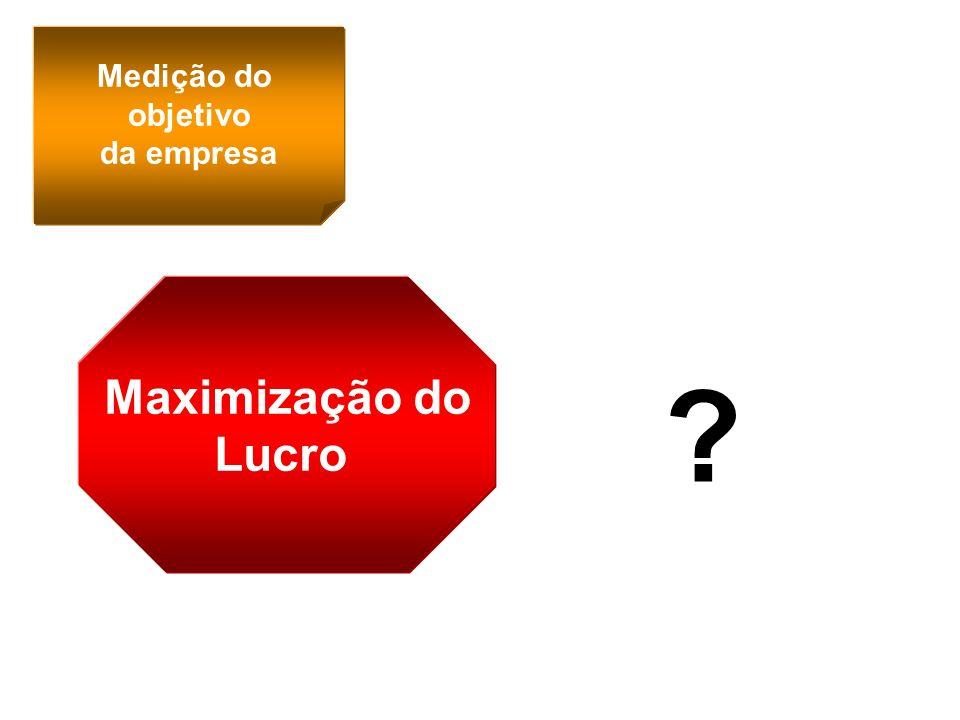 Medição do objetivo da empresa Maximização do Lucro ?