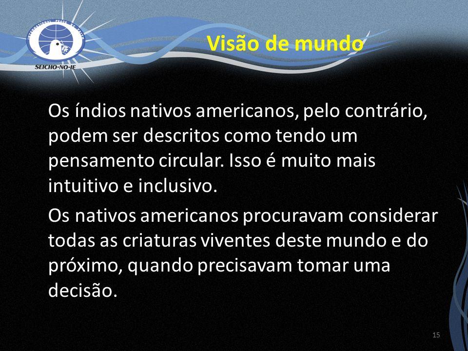 Os índios nativos americanos, pelo contrário, podem ser descritos como tendo um pensamento circular. Isso é muito mais intuitivo e inclusivo. Os nativ