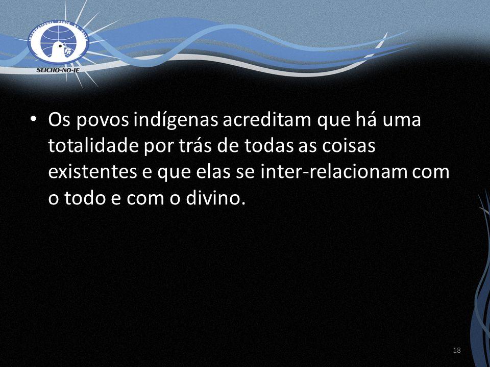 Os povos indígenas acreditam que há uma totalidade por trás de todas as coisas existentes e que elas se inter-relacionam com o todo e com o divino. 18