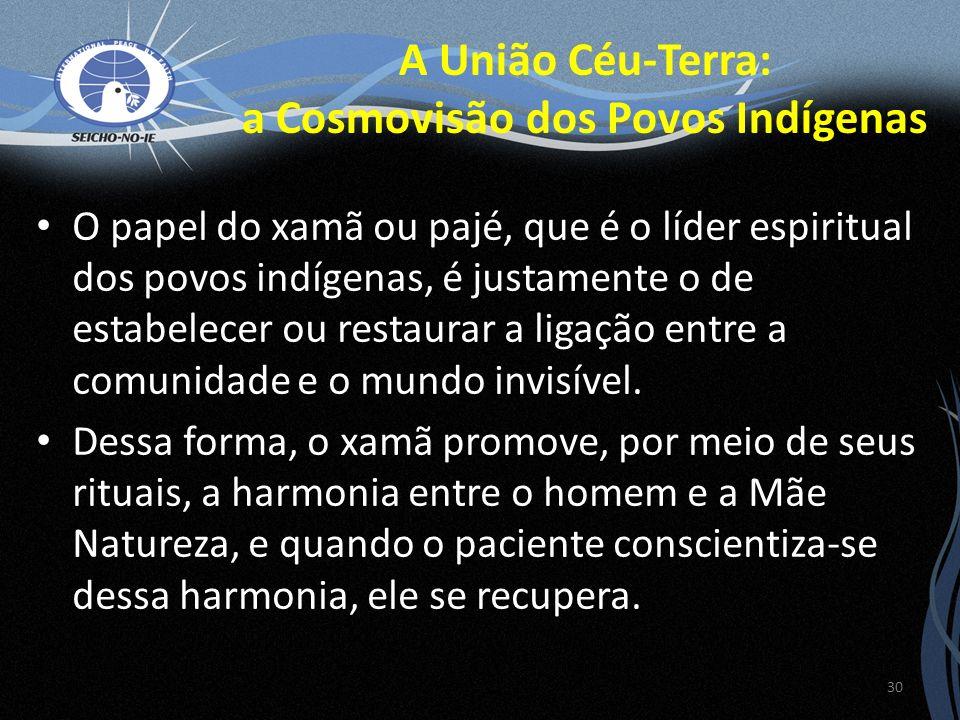 O papel do xamã ou pajé, que é o líder espiritual dos povos indígenas, é justamente o de estabelecer ou restaurar a ligação entre a comunidade e o mundo invisível.
