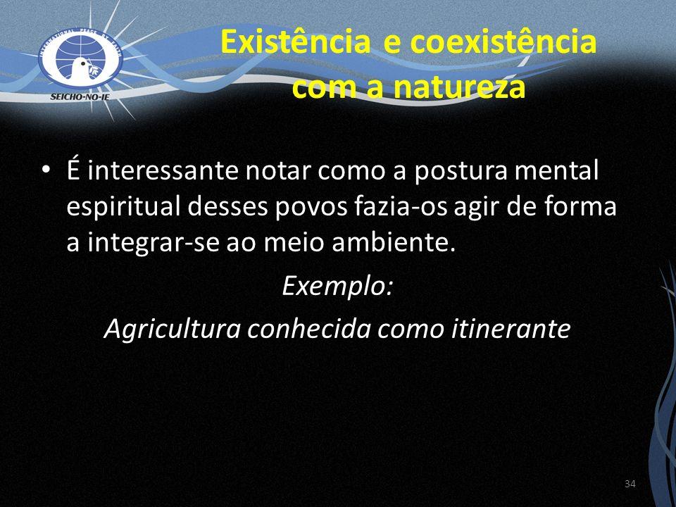 É interessante notar como a postura mental espiritual desses povos fazia-os agir de forma a integrar-se ao meio ambiente. Exemplo: Agricultura conheci