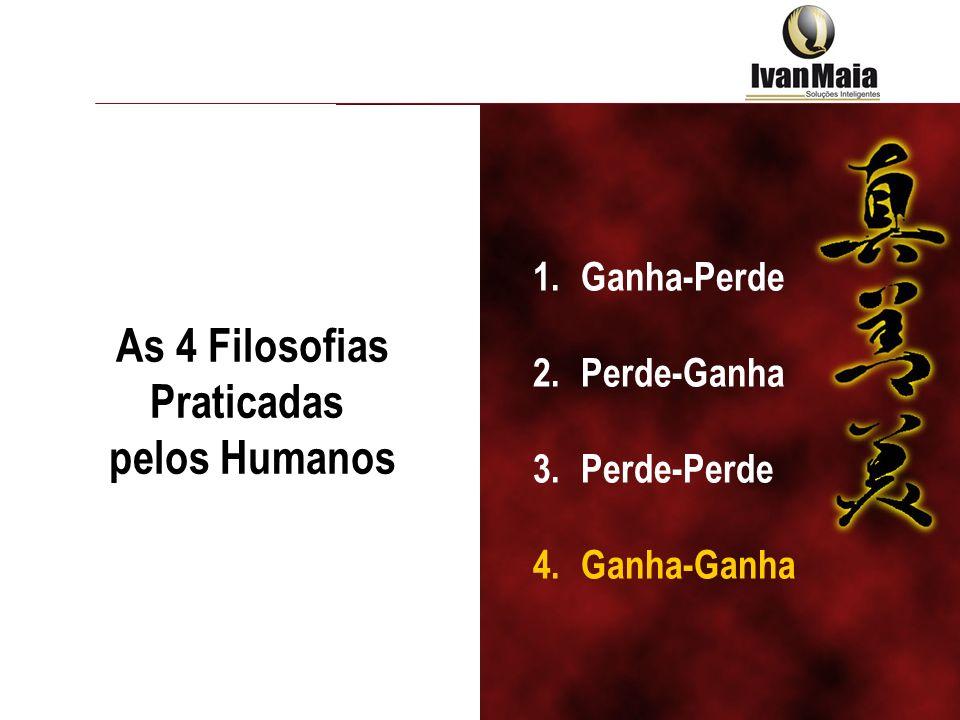 As 4 Filosofias Praticadas pelos Humanos 1.Ganha-Perde 2.Perde-Ganha 3.Perde-Perde 4.Ganha-Ganha