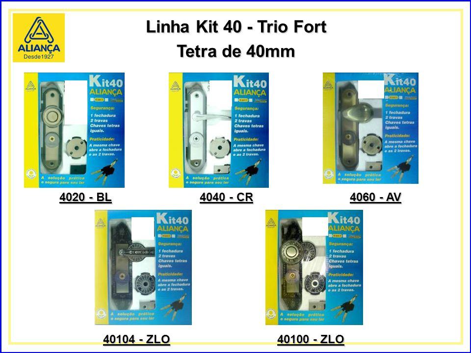 Linha Kit 40 - Trio Fort Tetra de 40mm 4020 - BL 4040 - CR 4060 - AV 40104 - ZLO 40100 - ZLO