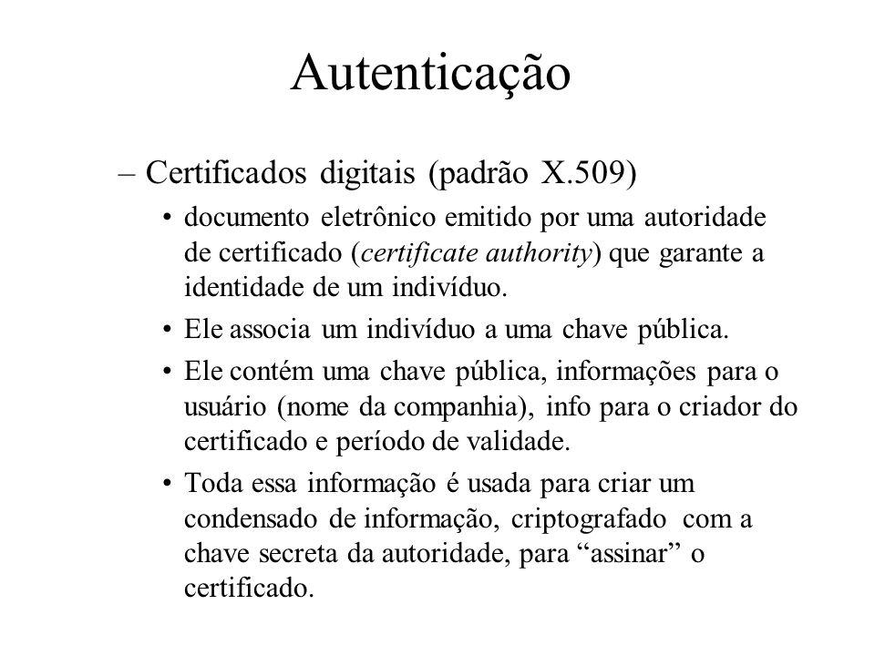 Autenticação Garante a identidade de ambas as partes –por senha –por certificados Senhas: Forma muito utilizada. Podem ser roubadas e/ou adivinhadas.