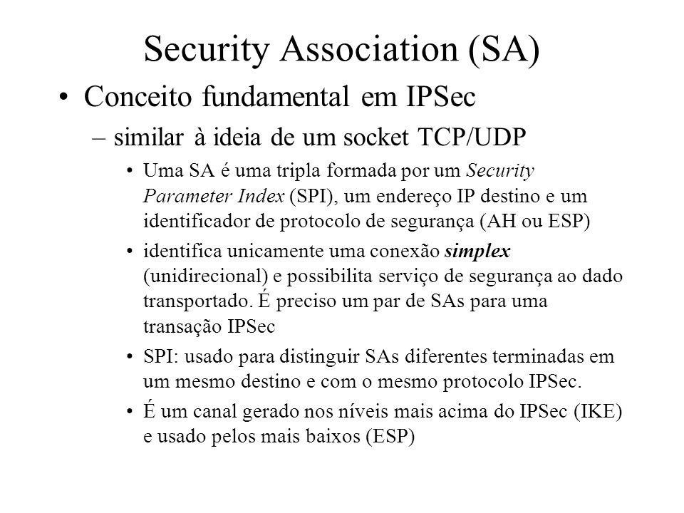 IPSec Segurança para IP –Provê criptografia e autenticação para a camada de redes (IP) Pode então proteger tráfego sobre IP, ao invés de outros que ap