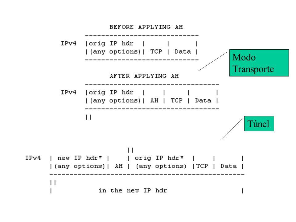 AH IP Authentication Header Protocolo Nro 51 (TCP = 7, UDP = 11). Objetivo –verificação do dados e integridade dos pacotes –Inserido ENTRE o header IP