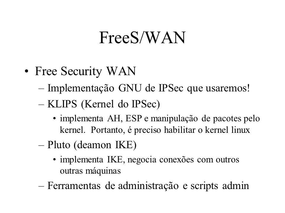 RSA Técnica de criptografia do tipo public key Rivest, Shamir and Adleman (patente quebrada em 2000!) Usado pelo IPSec apenas para assinaturas digitai