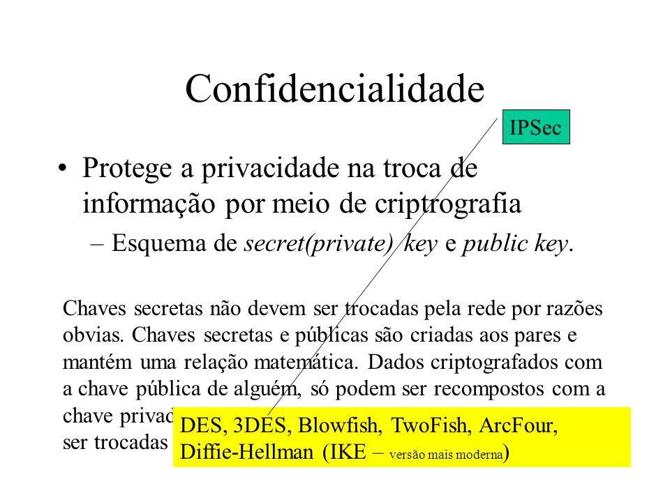 Objetivos Confiabilidade nas conexões –confidencialidade: criptografia dos dados –integridade: autenticação (dado não alterado por terceiros) IMPORTAN