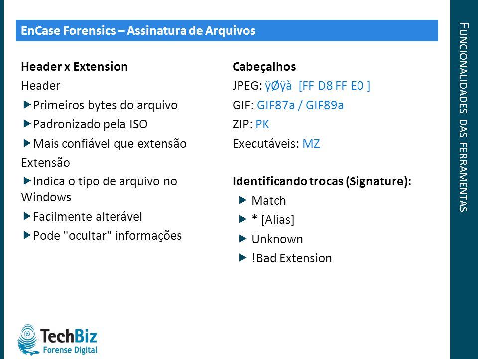 F UNCIONALIDADES DAS FERRAMENTAS Header x Extension Header Primeiros bytes do arquivo Padronizado pela ISO Mais confiável que extensão Extensão Indica
