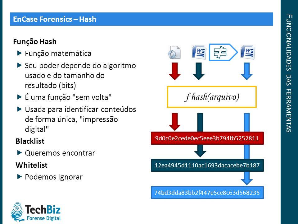 F UNCIONALIDADES DAS FERRAMENTAS Função Hash Função matemática Seu poder depende do algoritmo usado e do tamanho do resultado (bits) É uma função