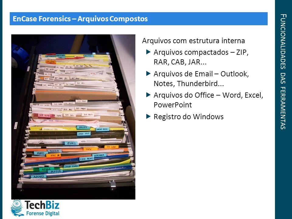 F UNCIONALIDADES DAS FERRAMENTAS EnCase Forensics – Arquivos Compostos Arquivos com estrutura interna Arquivos compactados – ZIP, RAR, CAB, JAR... Arq