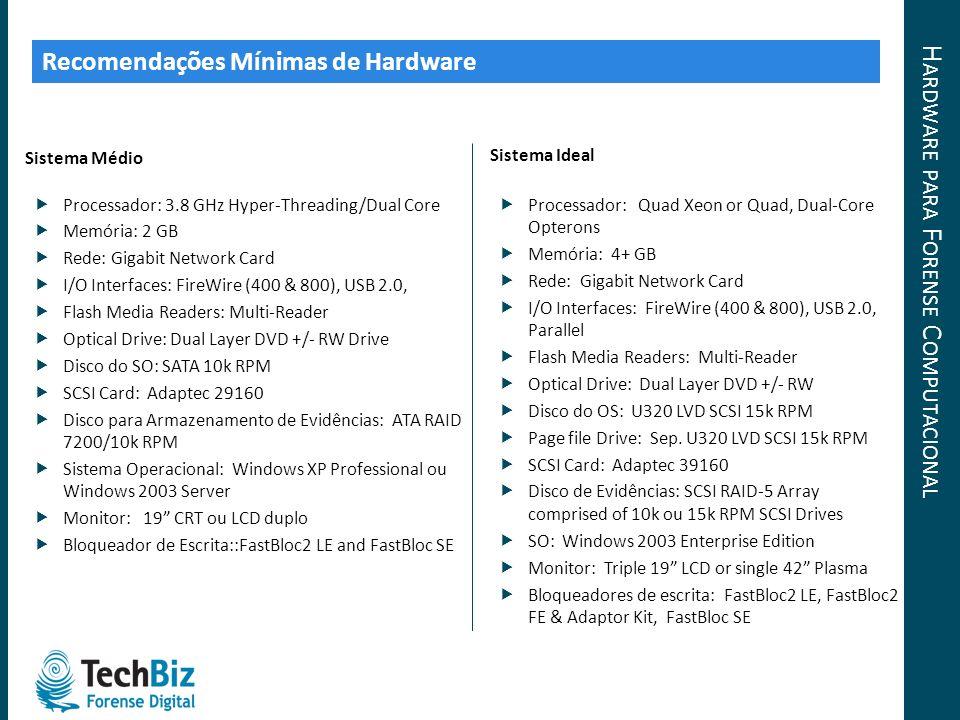 Recomendações Mínimas de Hardware Sistema Médio Processador: 3.8 GHz Hyper-Threading/Dual Core Memória: 2 GB Rede: Gigabit Network Card I/O Interfaces