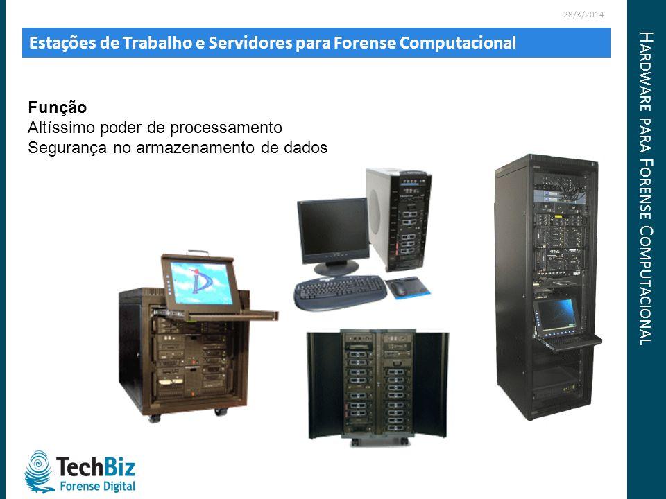 Estações de Trabalho e Servidores para Forense Computacional 28/3/2014 Função Altíssimo poder de processamento Segurança no armazenamento de dados