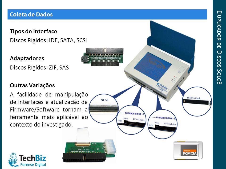 D UPLICADOR DE D ISCOS S OLO 3 Tipos de Interface Discos Rígidos: IDE, SATA, SCSi Adaptadores Discos Rígidos: ZIF, SAS Outras Variações A facilidade d