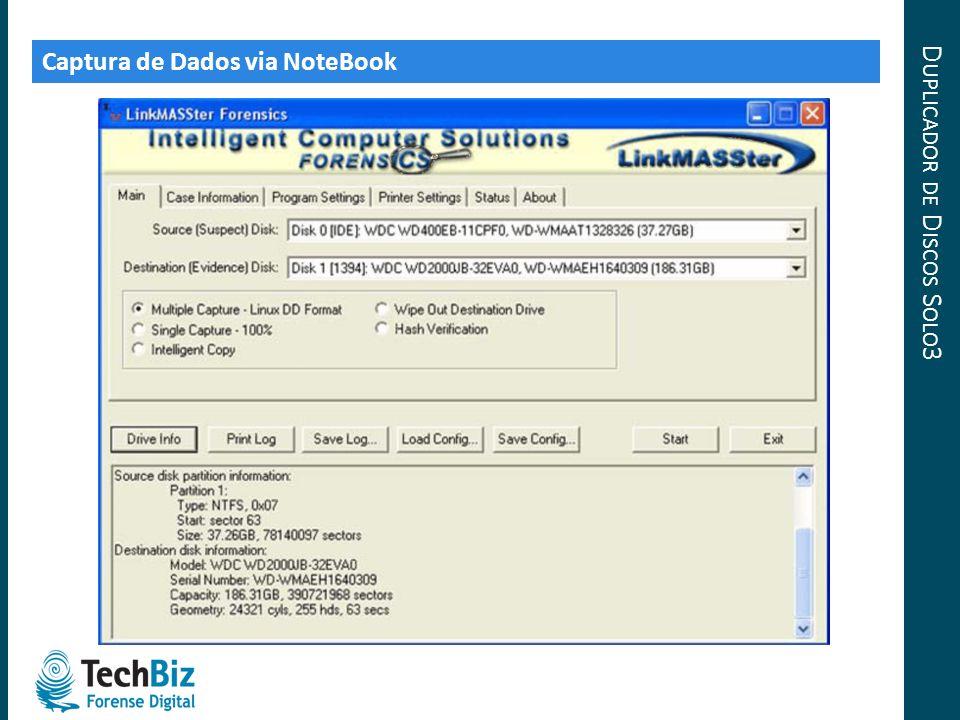 D UPLICADOR DE D ISCOS S OLO 3 Captura de Dados via NoteBook