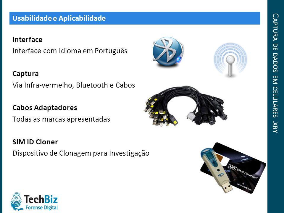 C APTURA DE DADOS EM CELULARES. XRY Interface Interface com Idioma em Português Captura Via Infra-vermelho, Bluetooth e Cabos Cabos Adaptadores Todas