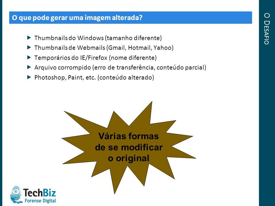 O D ESAFIO O que pode gerar uma imagem alterada? Thumbnails do Windows (tamanho diferente) Thumbnails de Webmails (Gmail, Hotmail, Yahoo) Temporários