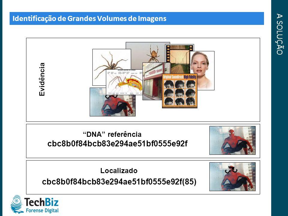 A SOLUÇÃO Identificação de Grandes Volumes de Imagens Evidência DNA referência cbc8b0f84bcb83e294ae51bf0555e92f Localizado cbc8b0f84bcb83e294ae51bf055