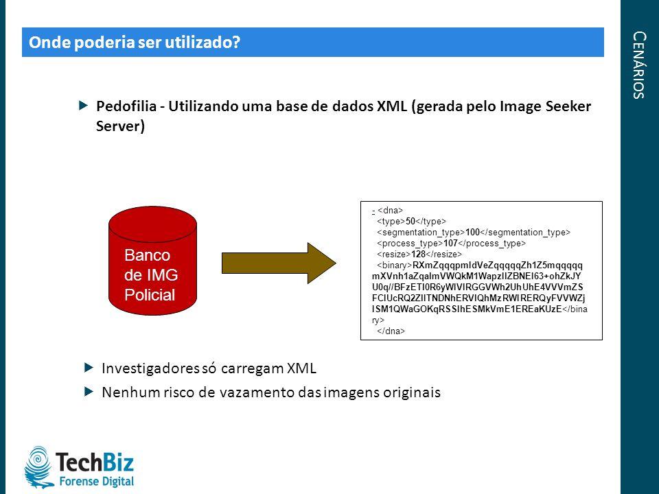 C ENÁRIOS Onde poderia ser utilizado? Pedofilia - Utilizando uma base de dados XML (gerada pelo Image Seeker Server) Banco de IMG Policial - 50 100 10