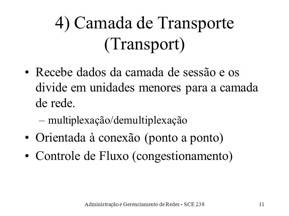 Administração e Gerenciamento de Redes - SCE 23811 4) Camada de Transporte (Transport) Recebe dados da camada de sessão e os divide em unidades menores para a camada de rede.